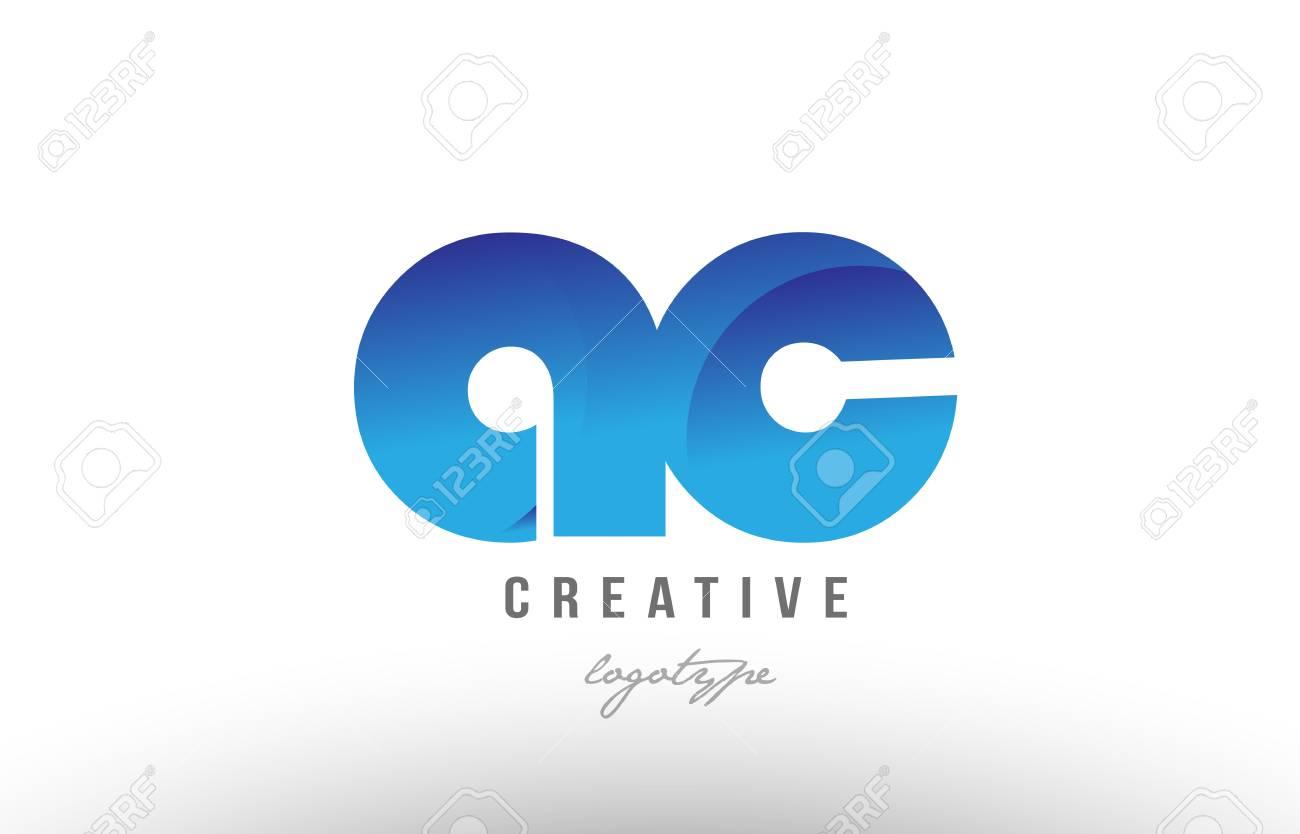 Design Of Alphabet Letter Logo Combination Ac A C With Blue Gradient