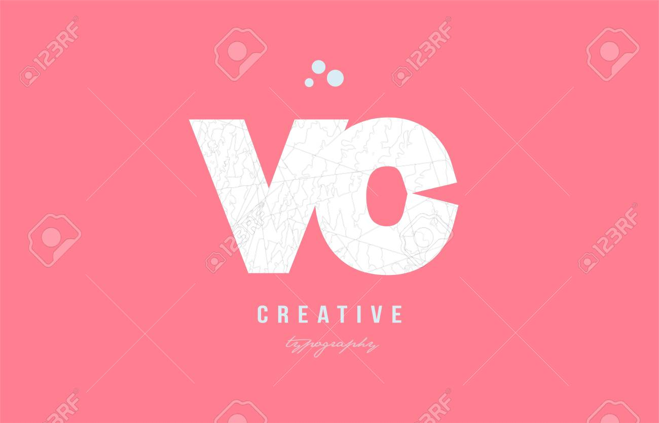 Design Of Alphabet Letter Logo Vc V C Combination With Pink Color ...