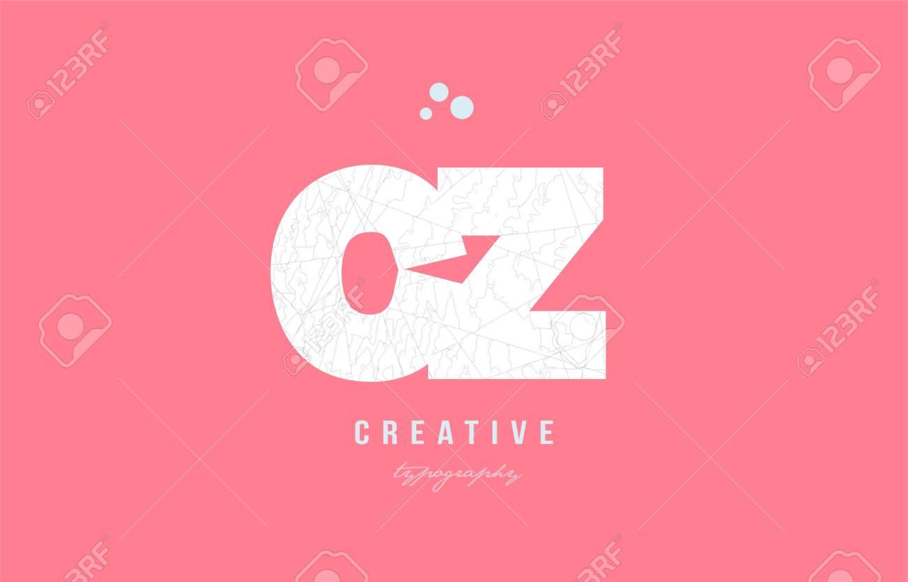 Design Of Alphabet Letter Logo Cz C Z Combination With Pink Color ...