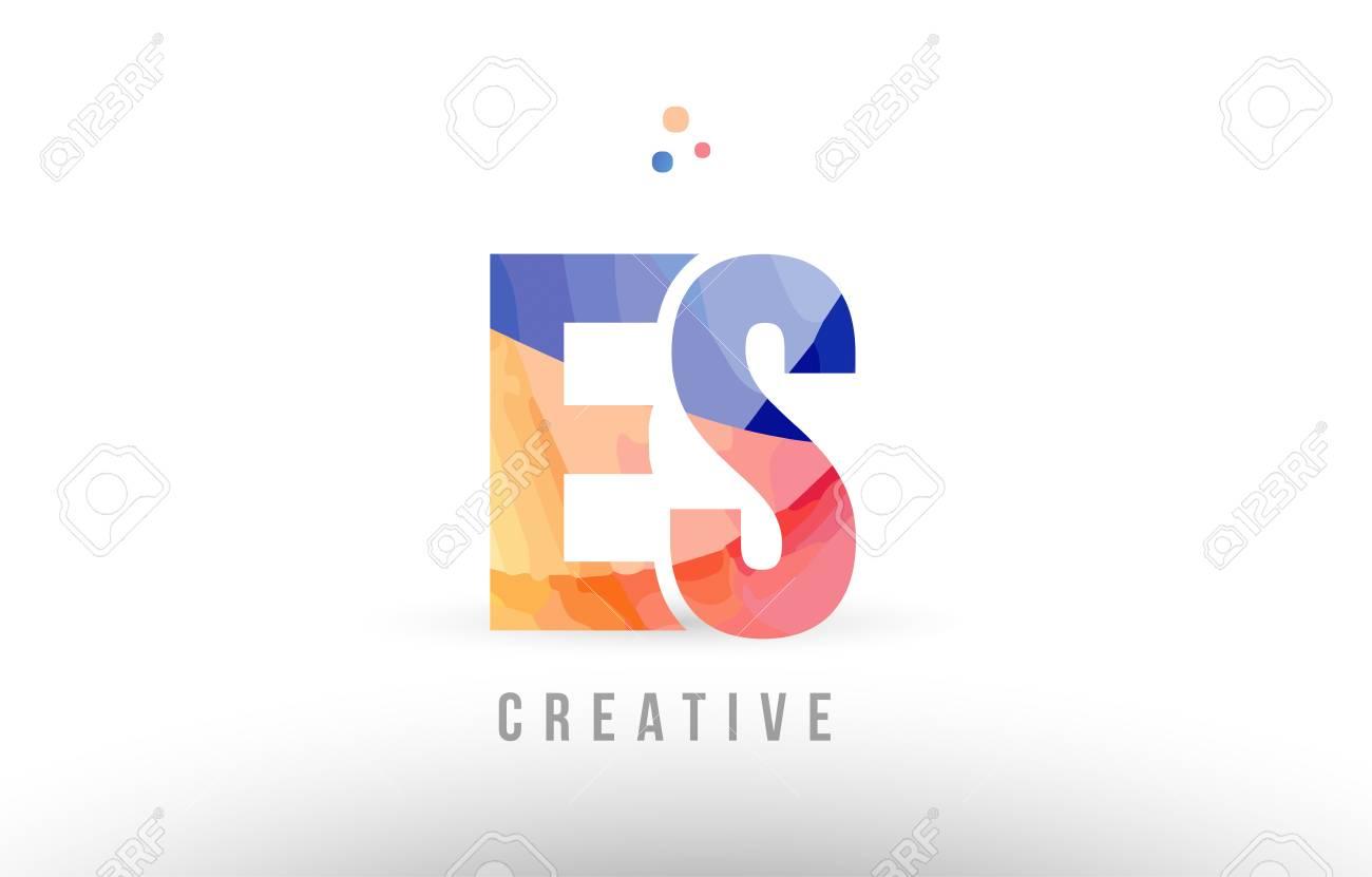 orange blue alphabet letter es e s logo combination design with dots suitable for a company or business - 99636335
