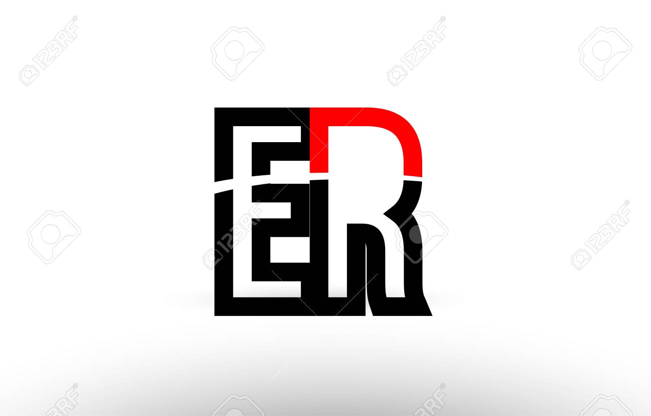 Black White And Red Alphabet Letter Er E R Logo Combination Design