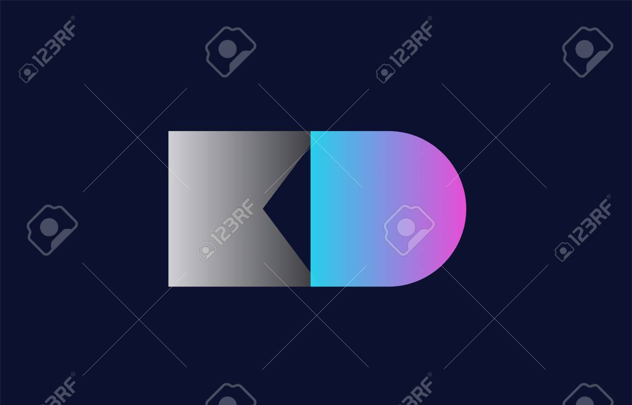 initial alphabet letter kd k d logo combination in pink blue and grey colors suitable for business and corporate identity - 101848129