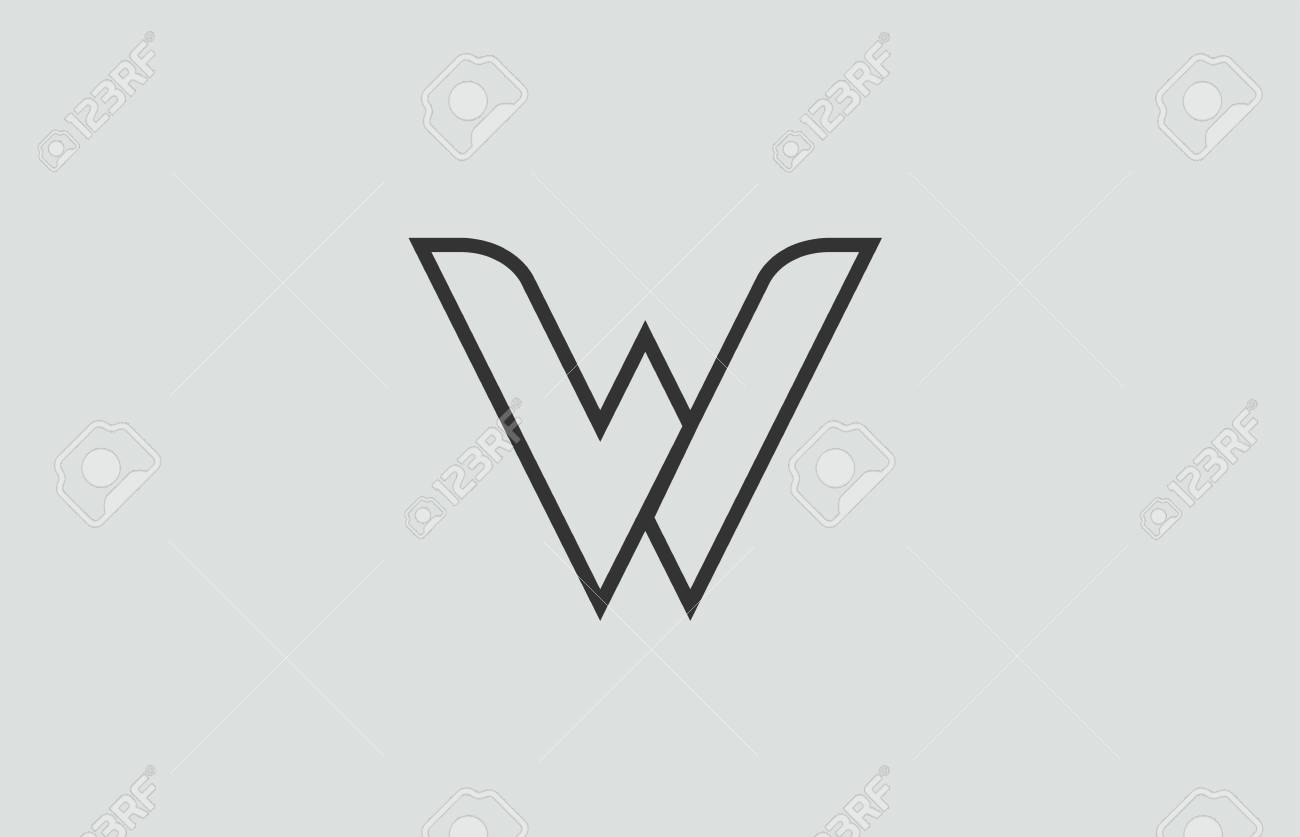 Black And White Alphabet Letter W Logo Design Suitable For A