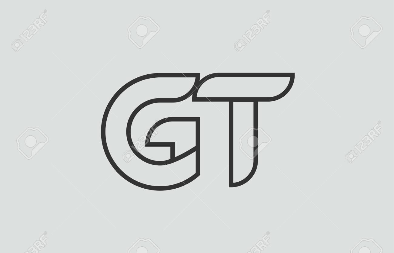 Black And White Alphabet Letter Gt G T Logo Combination Design