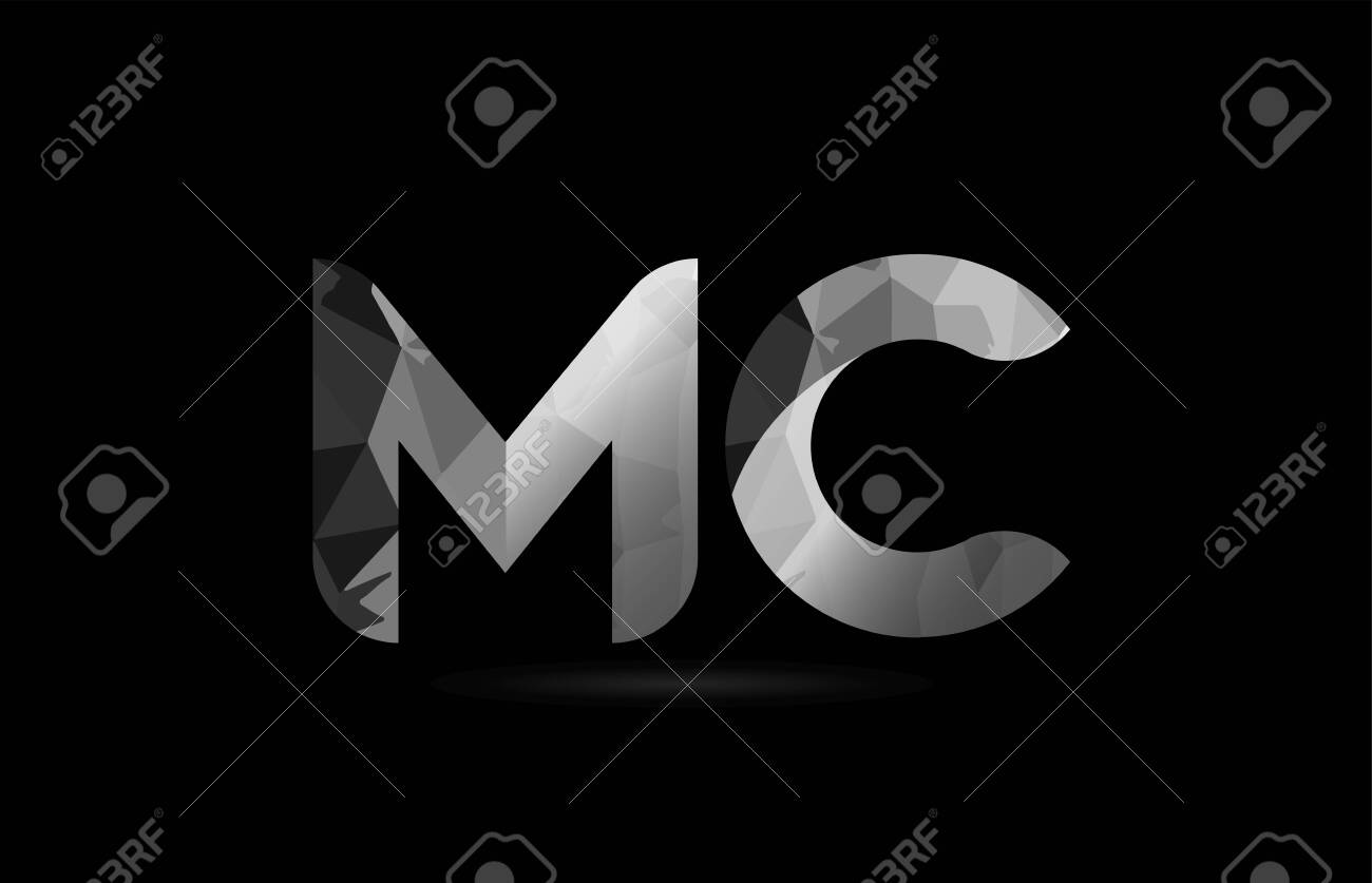 black and white alphabet letter mc m c logo combination design suitable for a company or business - 108963880