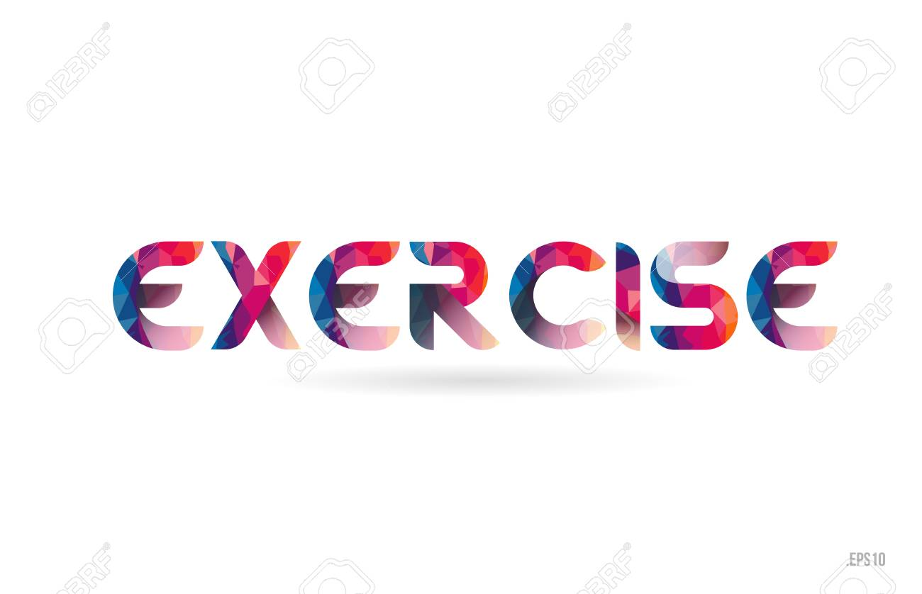 Exercise Colored Rainbow Word Text Suitable For Card Brochure Royalty Free Cliparts Vectors And Stock Illustration Image 109496241
