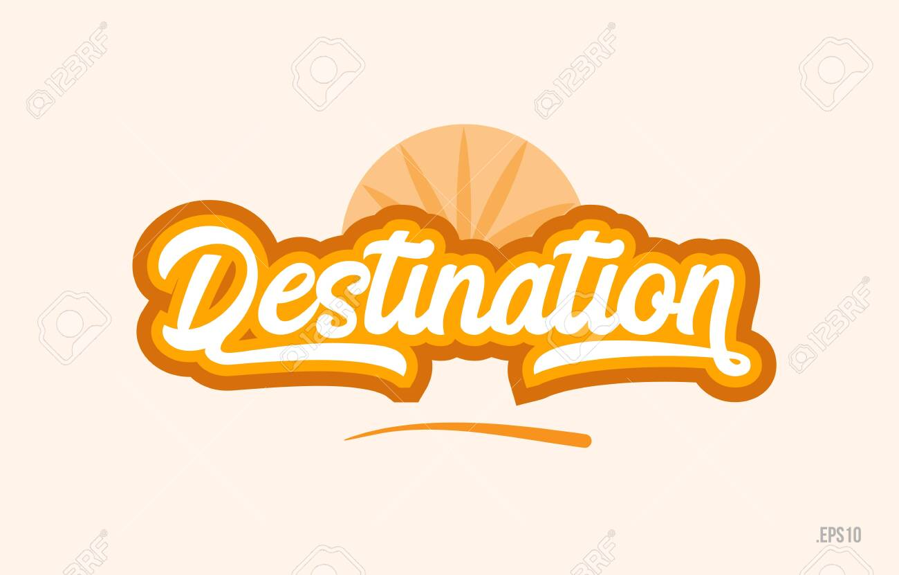destination word with orange color suitable for card icon or typography logo design - 110068284