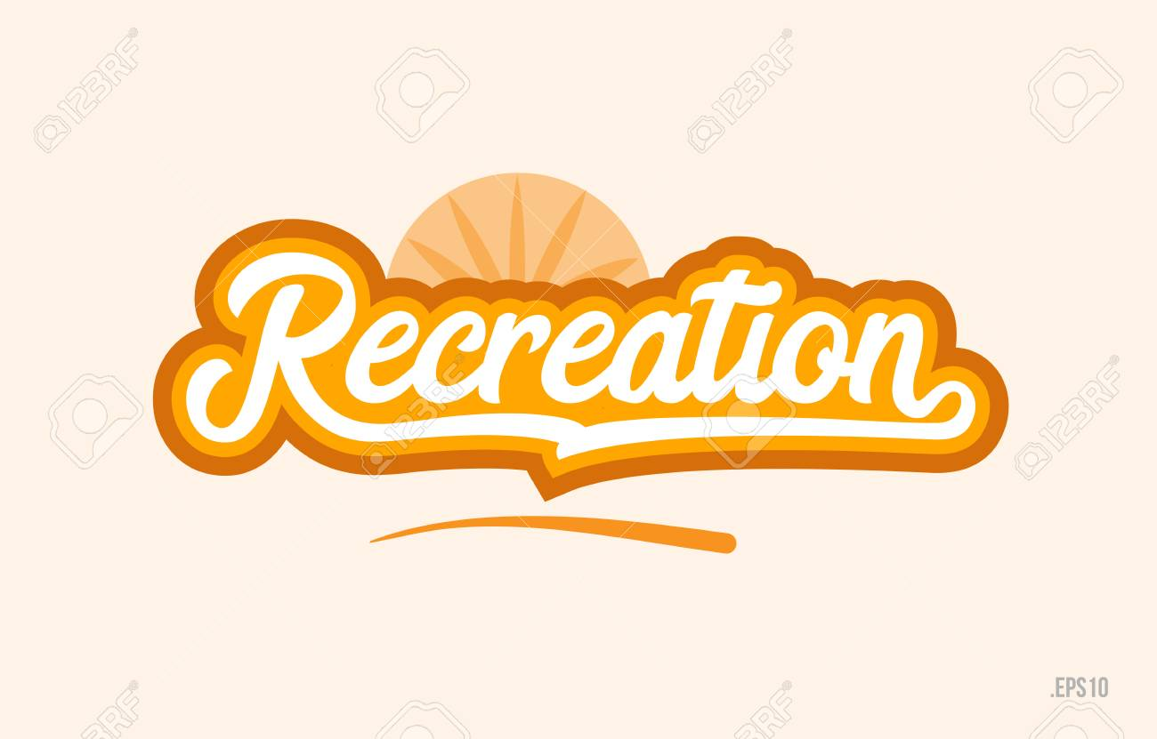 recreation word with orange color suitable for card icon or typography