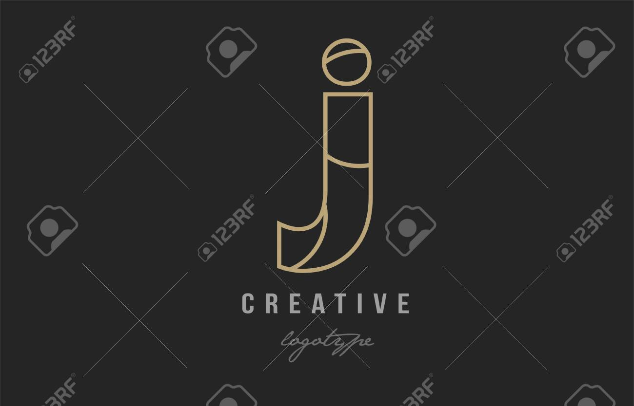 black and yellow gold alphabet letter j logo design suitable for a company or business - 114179379