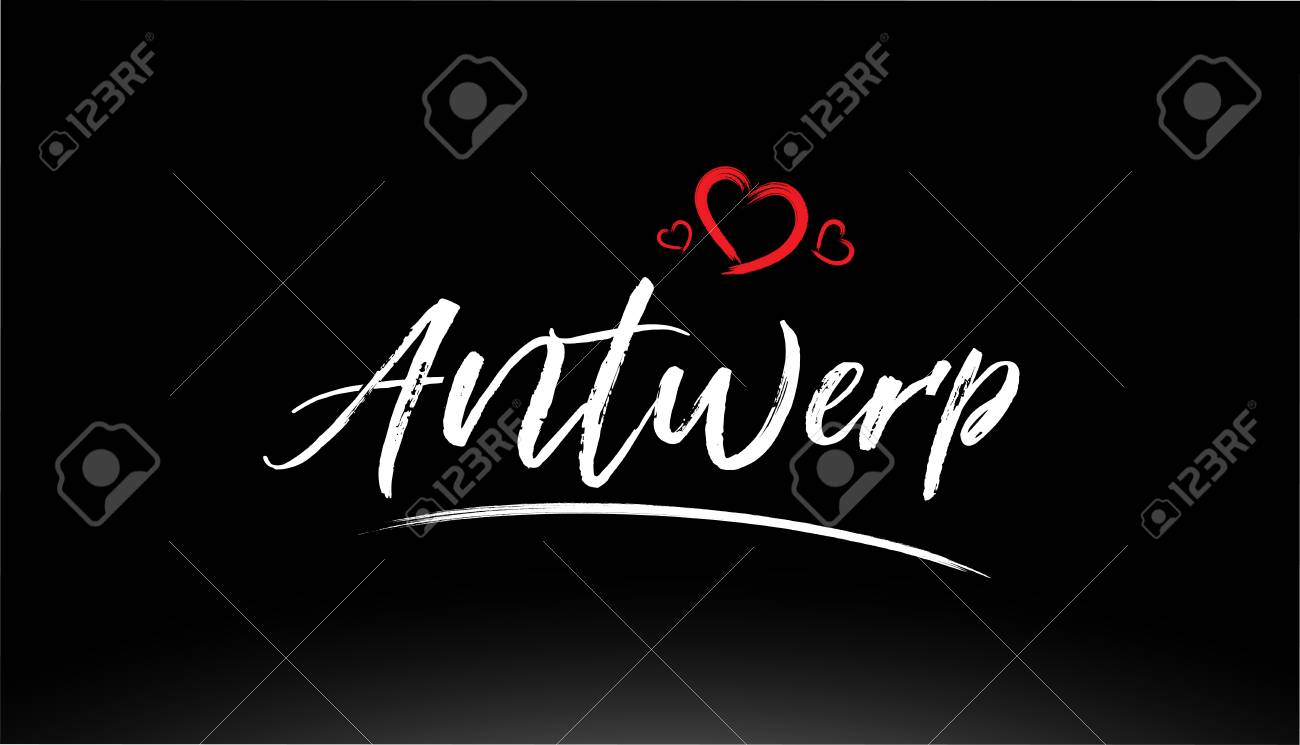 Antwerp City Hand Written Text With Red Heart Suitable For Logo Royalty Free Cliparts Vectors And Stock Illustration Image 116454662