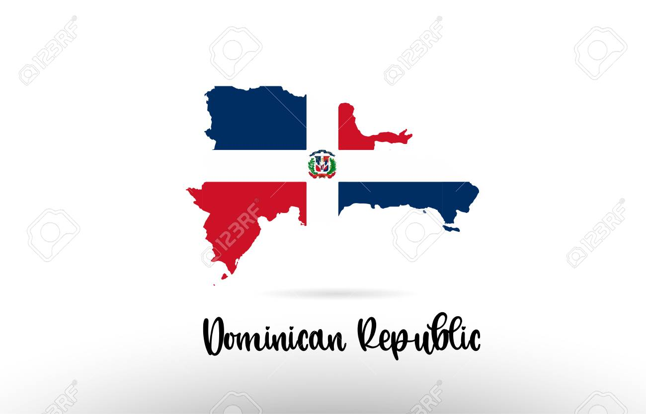 Dominican Republic Country Flag Inside Country Border Map Design ...