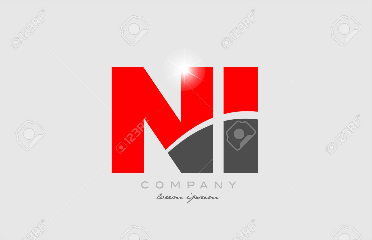 combination letter ni n i in grey red color alphabet logo icon design suitable for a company or business - 116907741