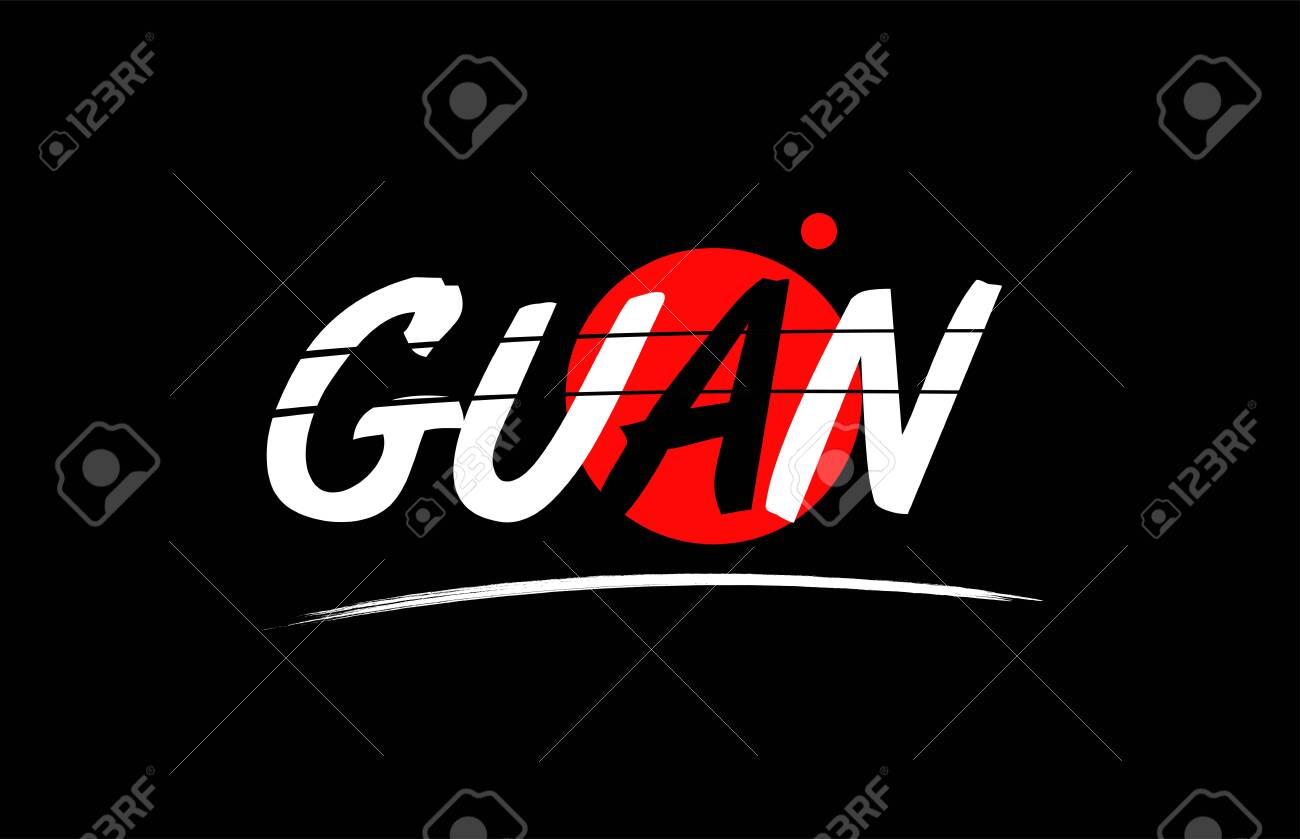 guan text word on black background with red circle suitable for