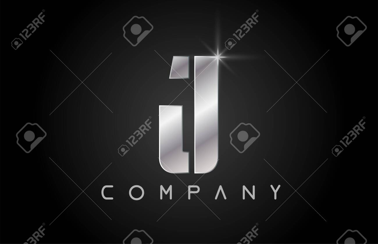 silver alphabet letter J logo design suitable for a company or business - 128017718