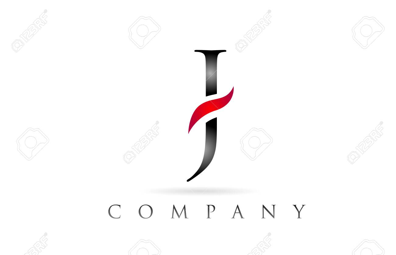 white red alphabet letter J logo design suitable for a company or business - 128018338