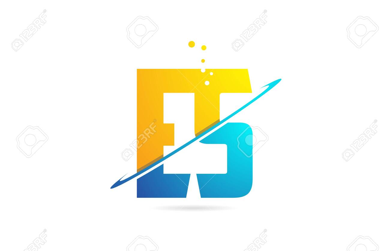 alphabet letter ES E S combination in blue and orange colors suitable as a logo for a company or business - 129915749