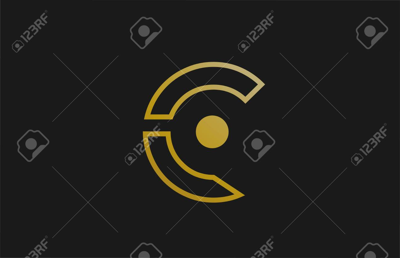 gold golden line C alphabet letter logo design with circle icon for company and business. Suitable for a luxury or metallic logotype - 141596181