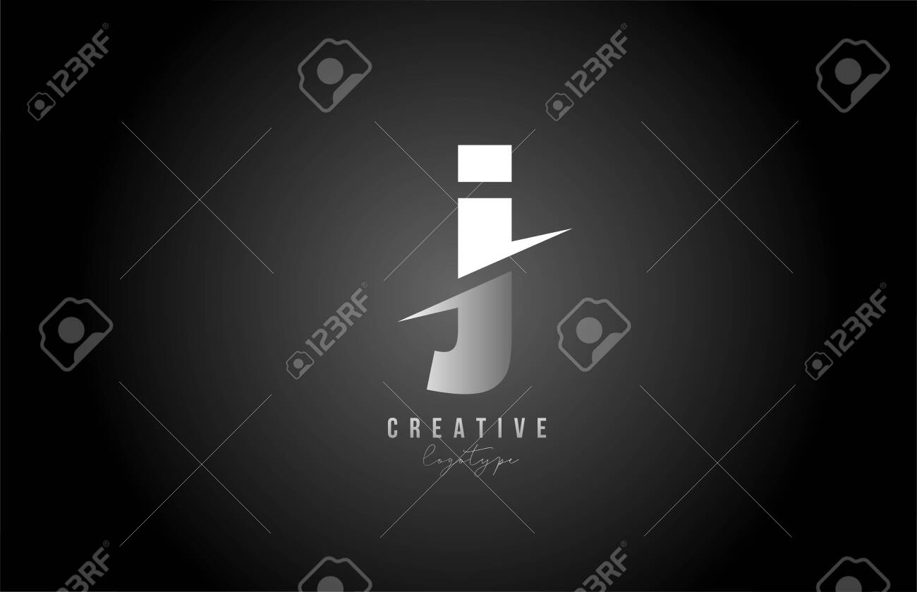 J letter logo alphabet icon design for company and business. Black and white - 142844096