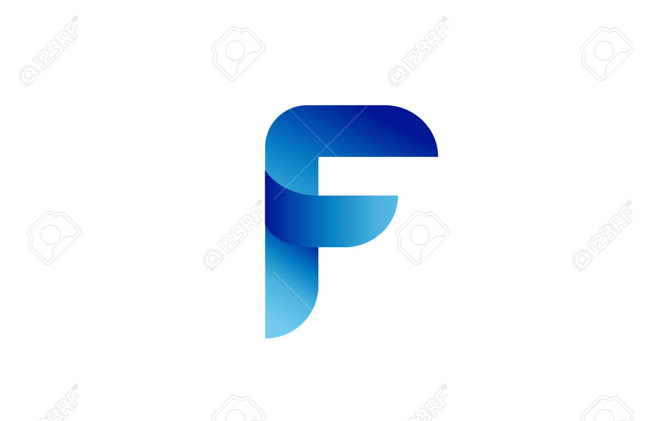 F creative blue gradient alphabet letter logo for branding and business. Design for lettering and corporate identity. Professional icon template - 168173289