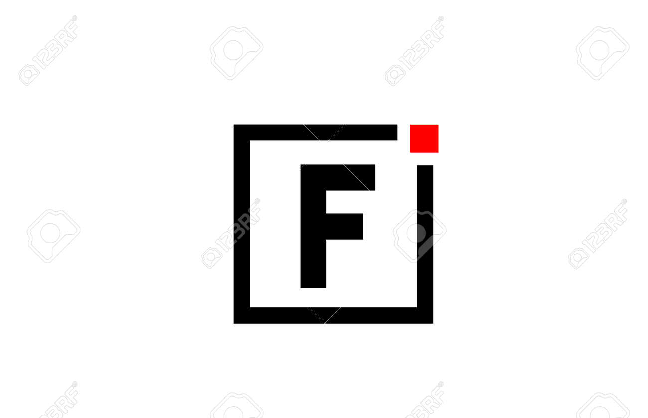 F alphabet letter icon logo in black and white. Company and business design with square and red dot. Creative corporate identity template - 169751144