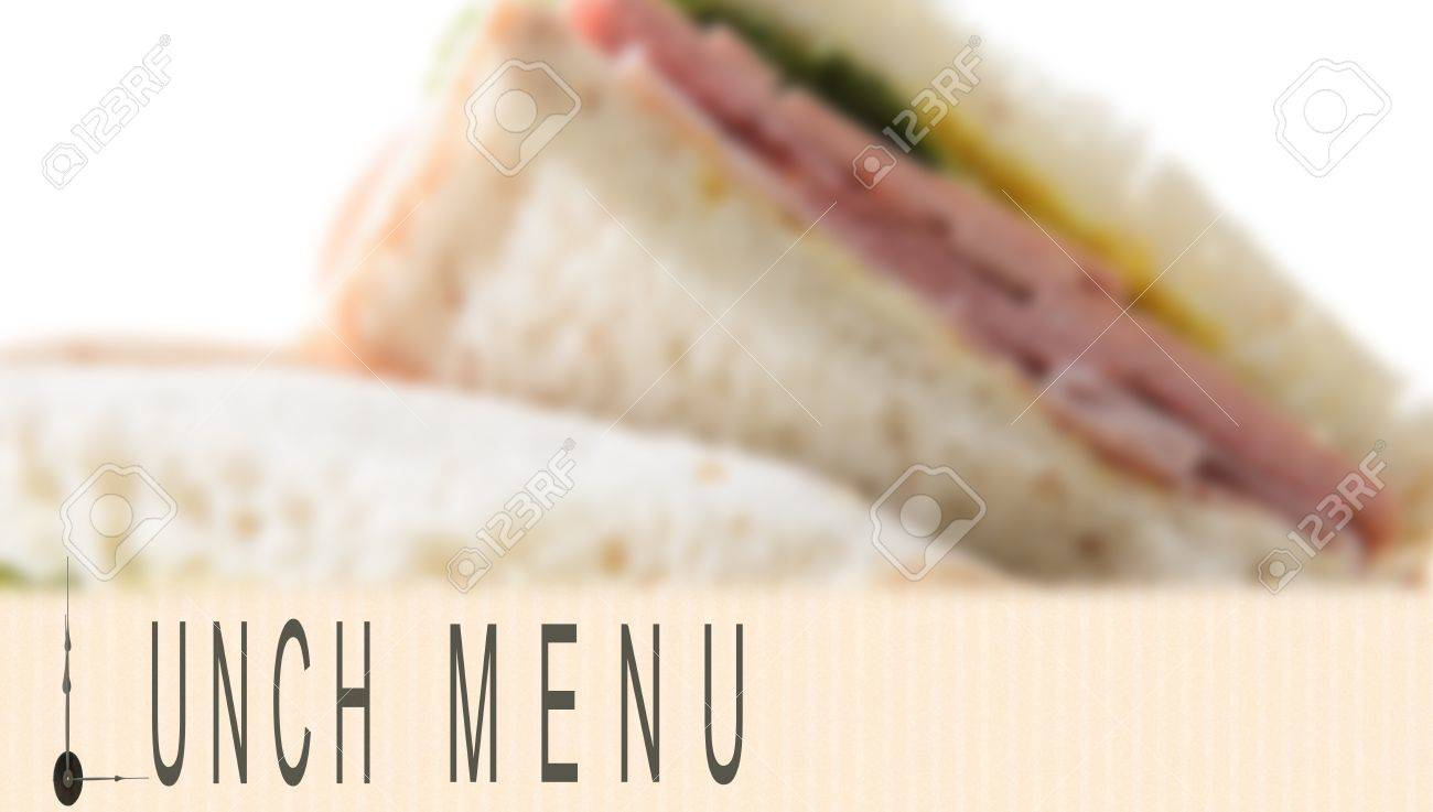 lunch menu written with clock hands and sandwich in the background