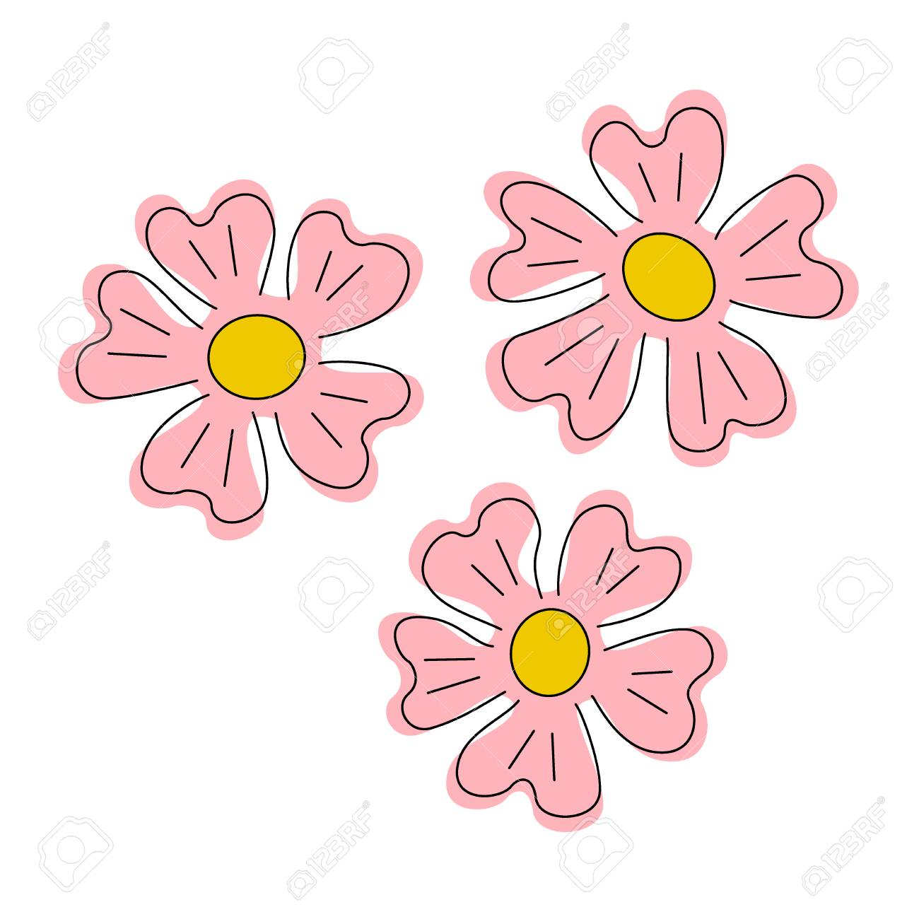 simple pink flowers rose and yellow little flower royalty free
