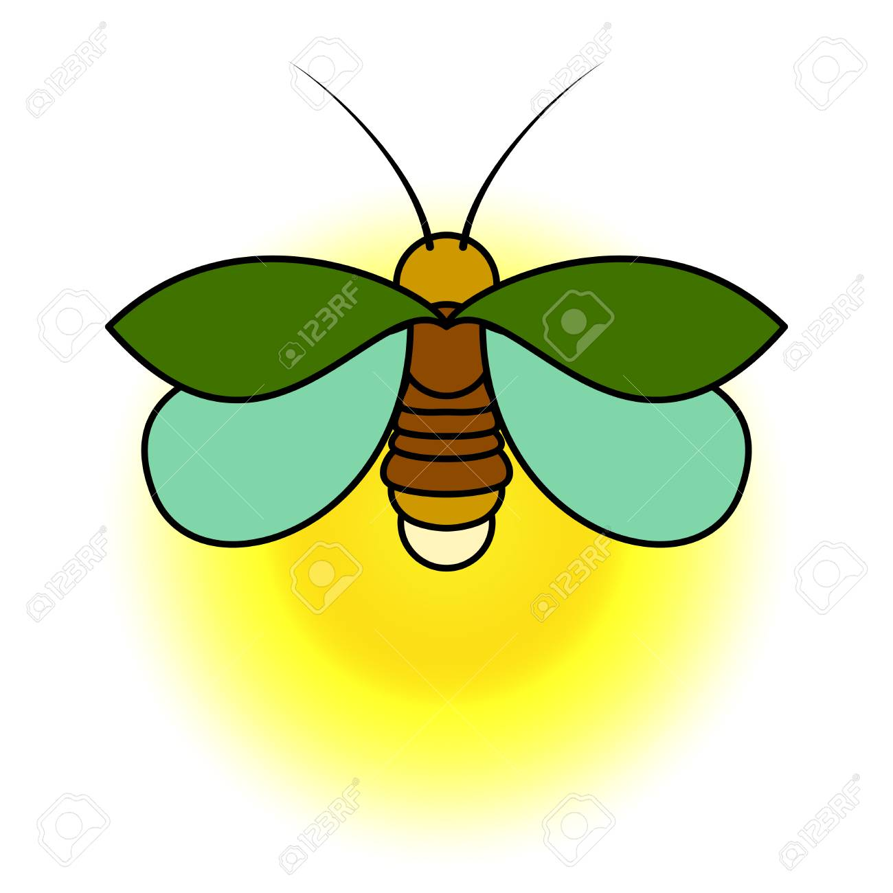 a green firefly with a yellow glow a simple stylized drawing rh 123rf com