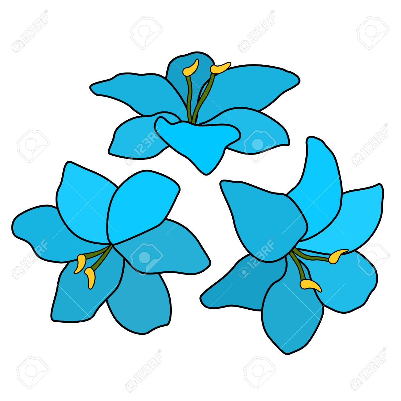 Circle Of Blue Flowers Floral Ornament Six Petals And Grass Royalty Free Cliparts Vectors And Stock Illustration Image 112340639