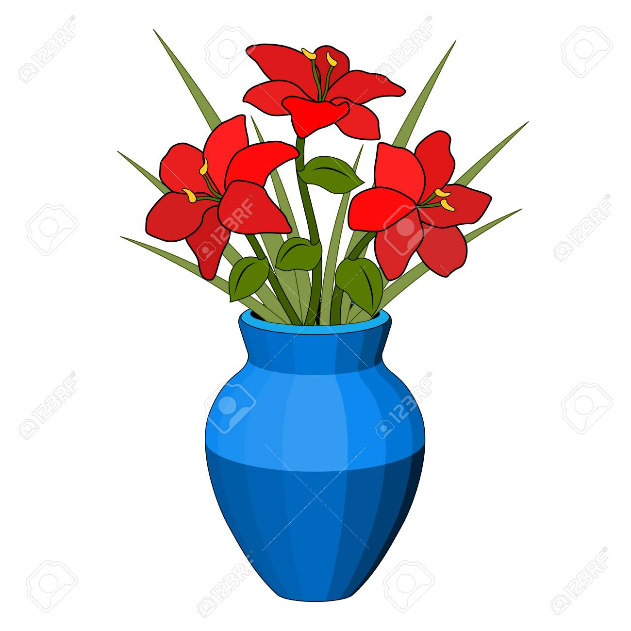 Bouquet In A Vase Of Red Flowers Blue Pot Flower Arrangement