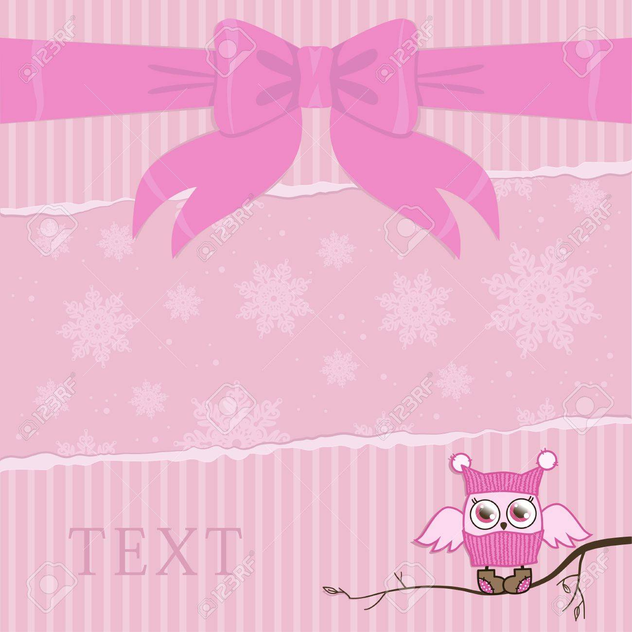 template illustration on a card with an owl in pink color Stock Vector - 16391501