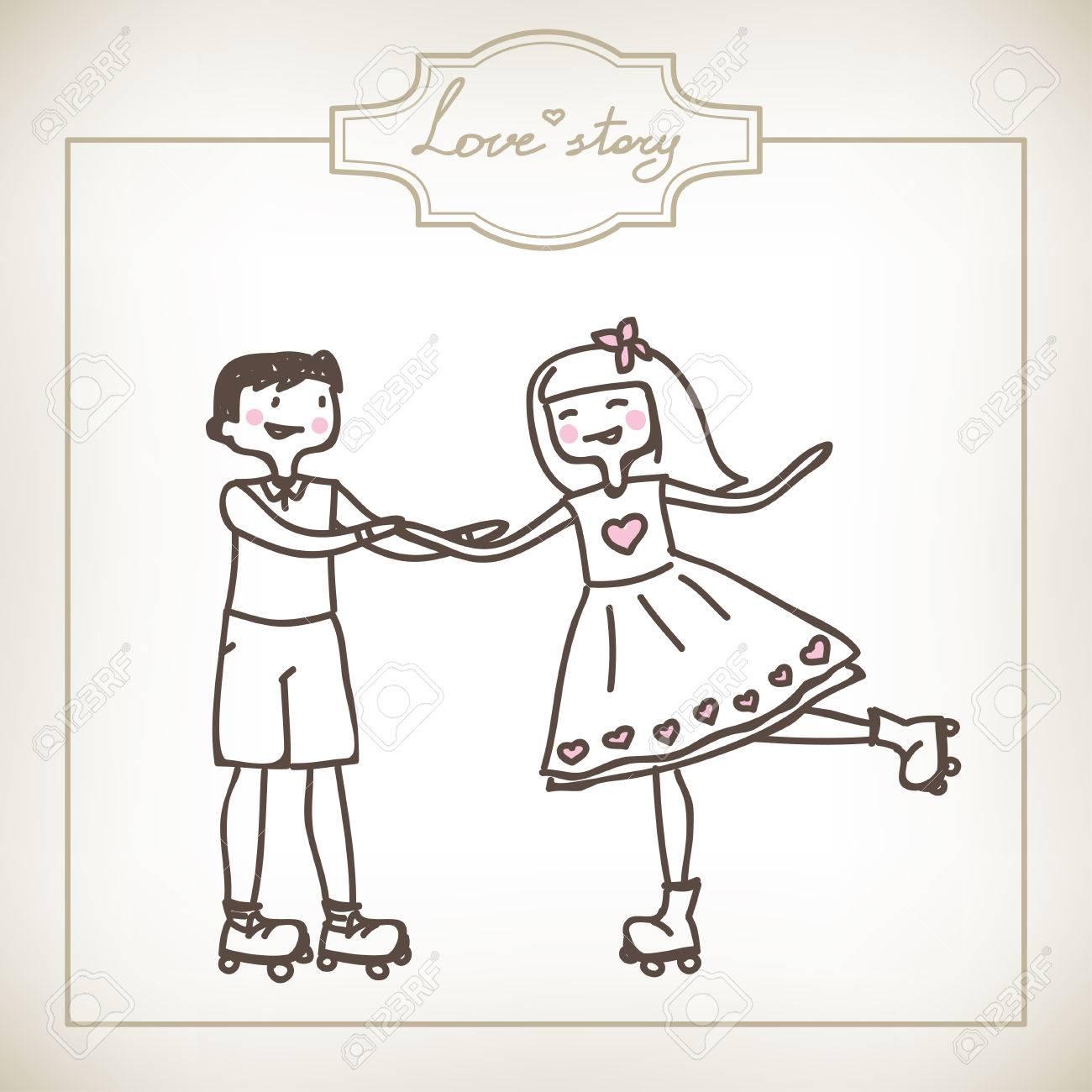 若いカップルの面白い漫画イラスト ロイヤリティフリークリップアート