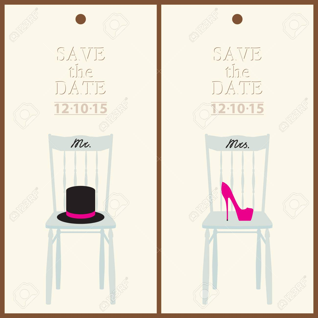 Save The Date Wedding Invitation Card Mr & Mrs Template Vector ...