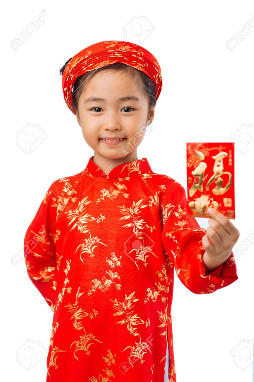 Girl in traditional vietnamese dress showing greeting card focus girl in traditional vietnamese dress showing greeting card focus on child stock photo 73167543 m4hsunfo
