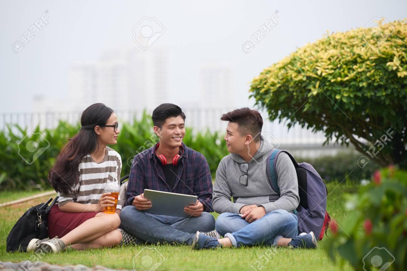 Preparing for Exam at Public Park - 99142087