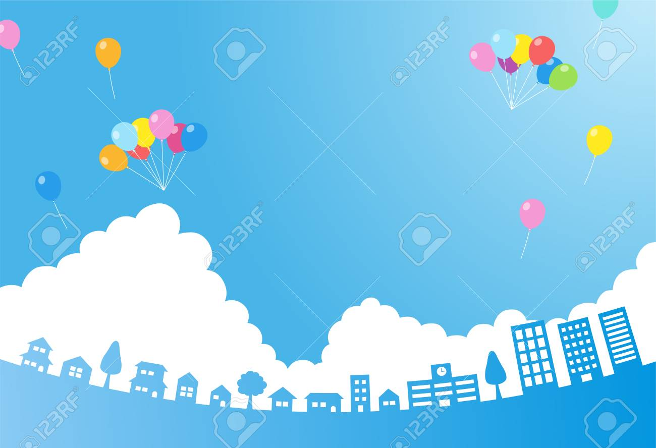 Blue sky with balloon and cityscape-background material- - 117191152