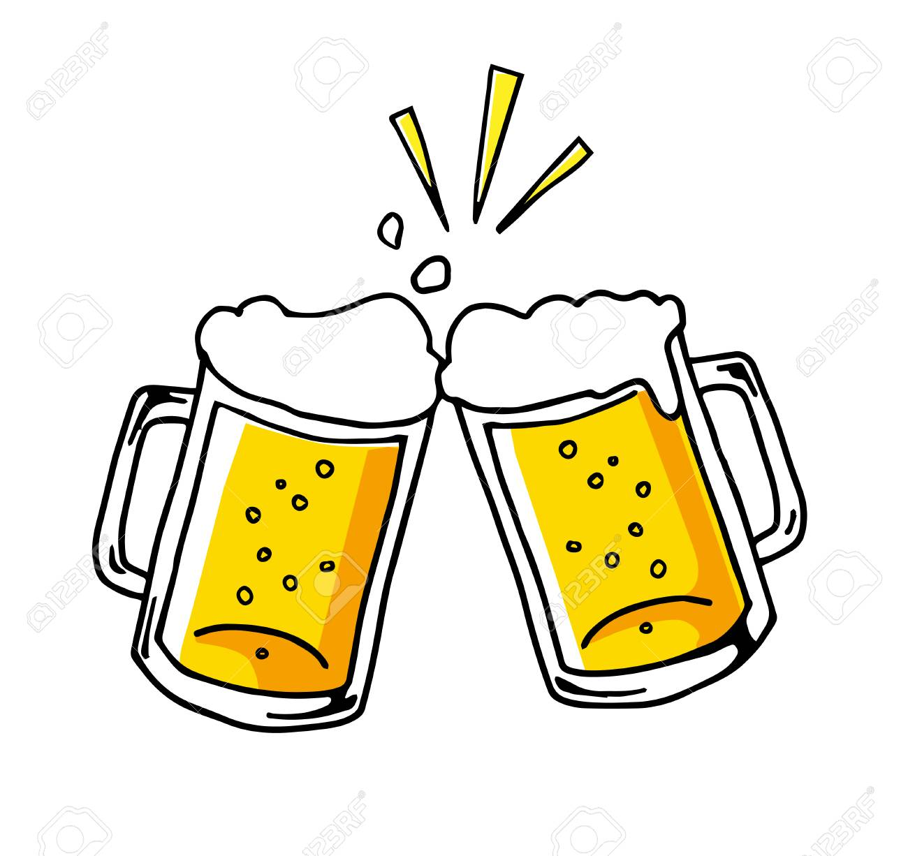 Cheers With Beer Icon Hand-drawn Royalty Free Cliparts, Vectors, And Stock Illustration. Image 126272332.