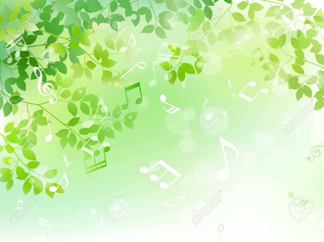 Green leaf and music note sunbeam image - 128476786