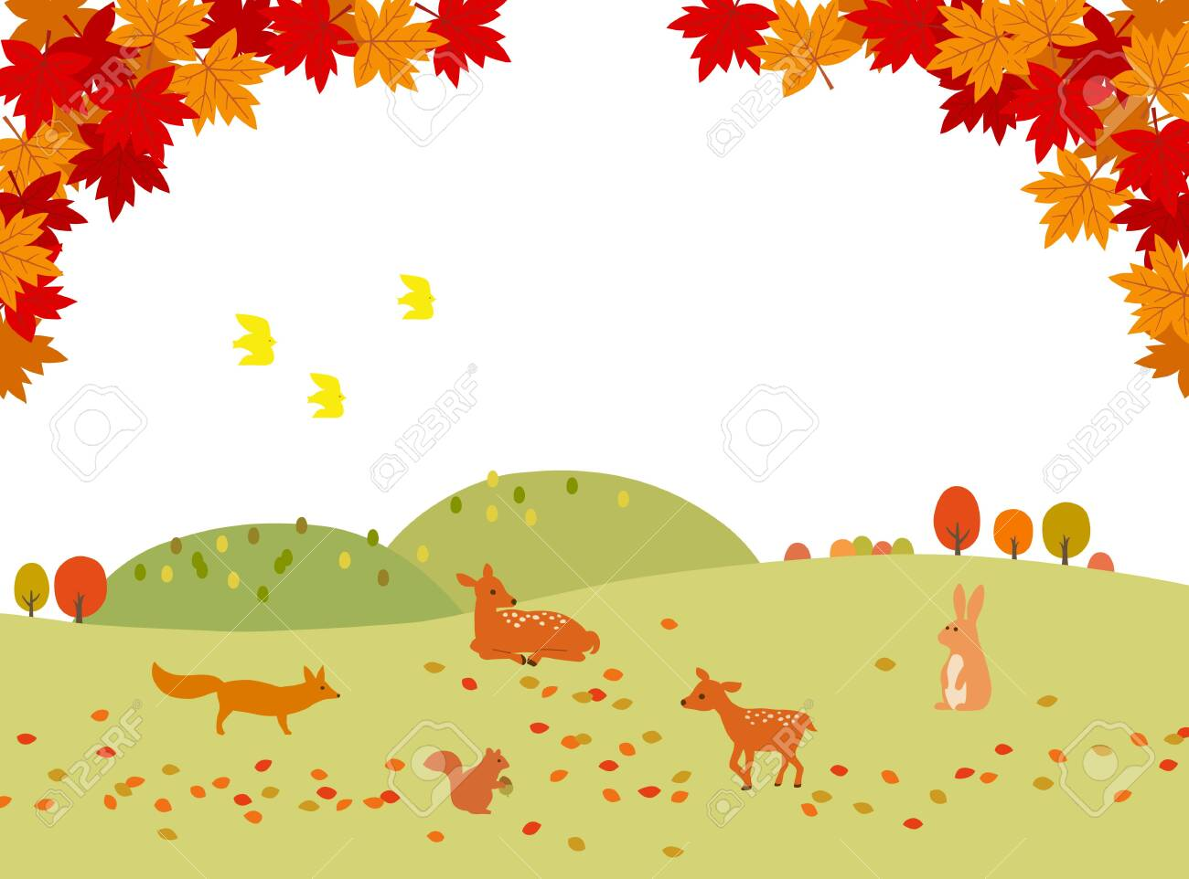 Autumn leaves and animals landscape background material - 155275535