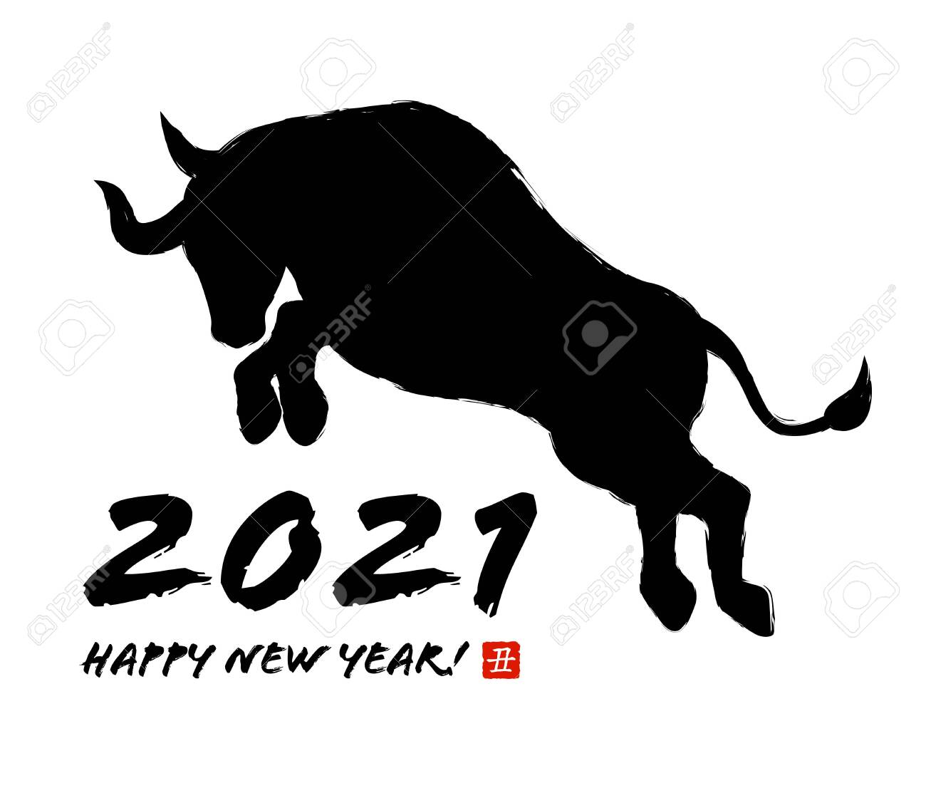 Bull silhouette for New Year's card material - 156618556