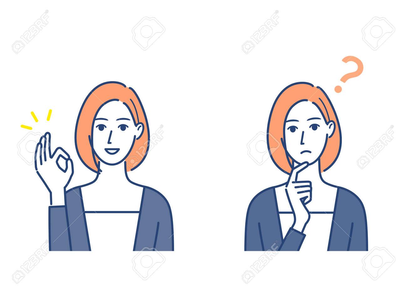 OK and question mark signature female illustration set - 167776468