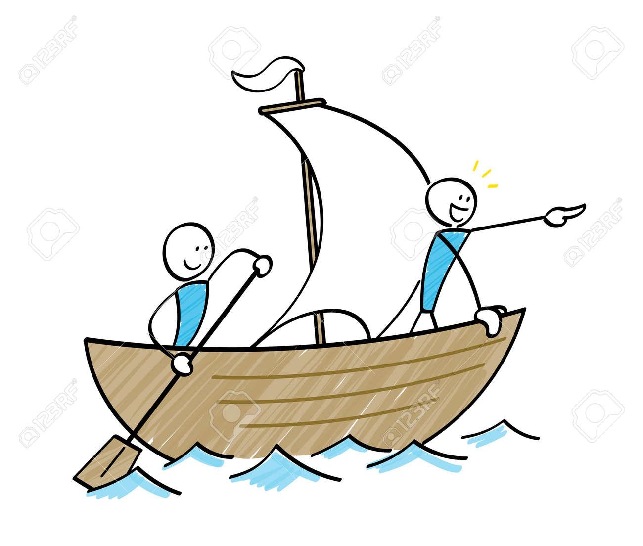 stickman sailor sailing on a ship - 168407320