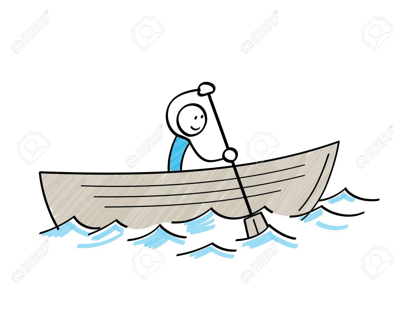 Stickman sailing in a boat - 168407325
