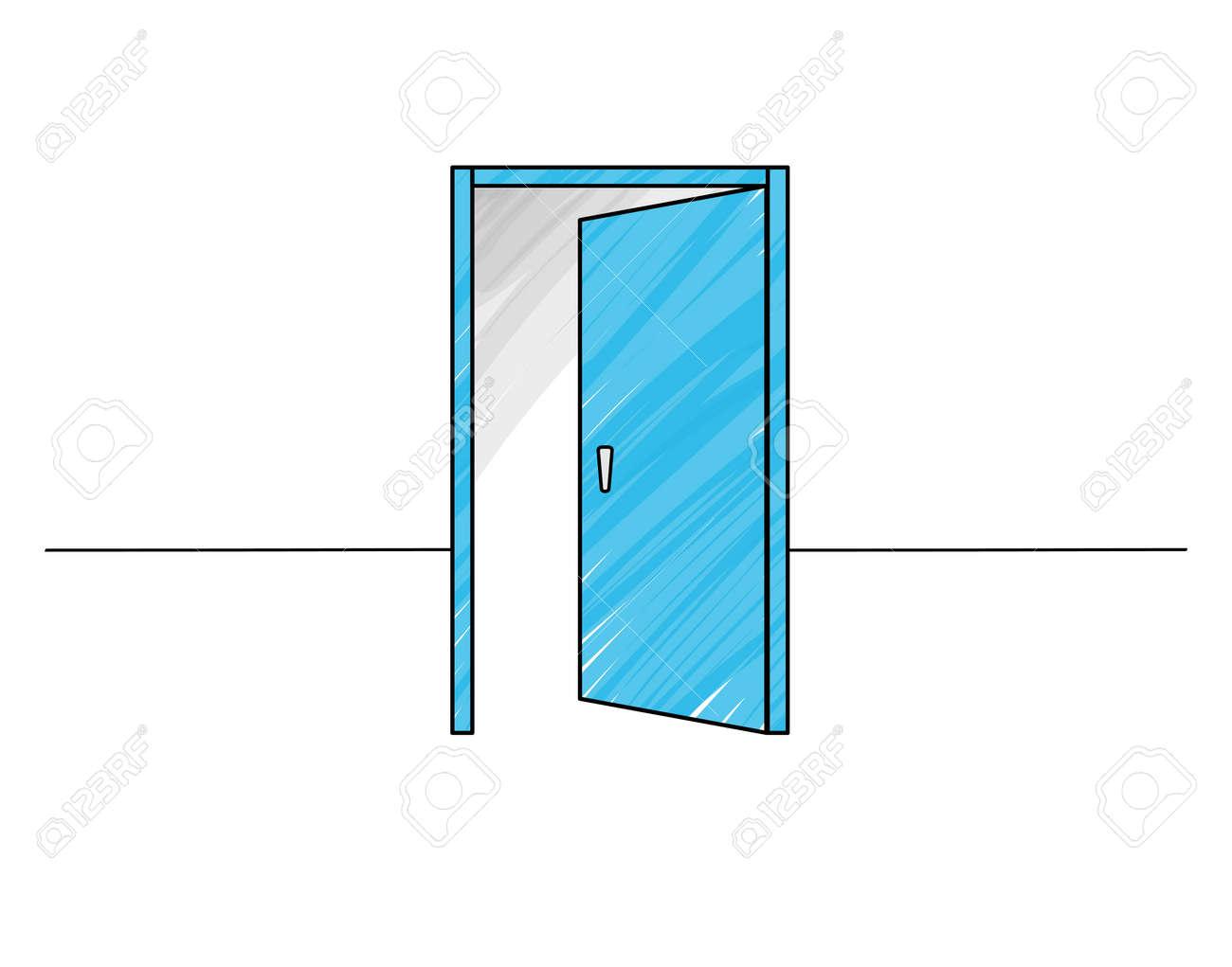 Illustration of an opening door - 168653477