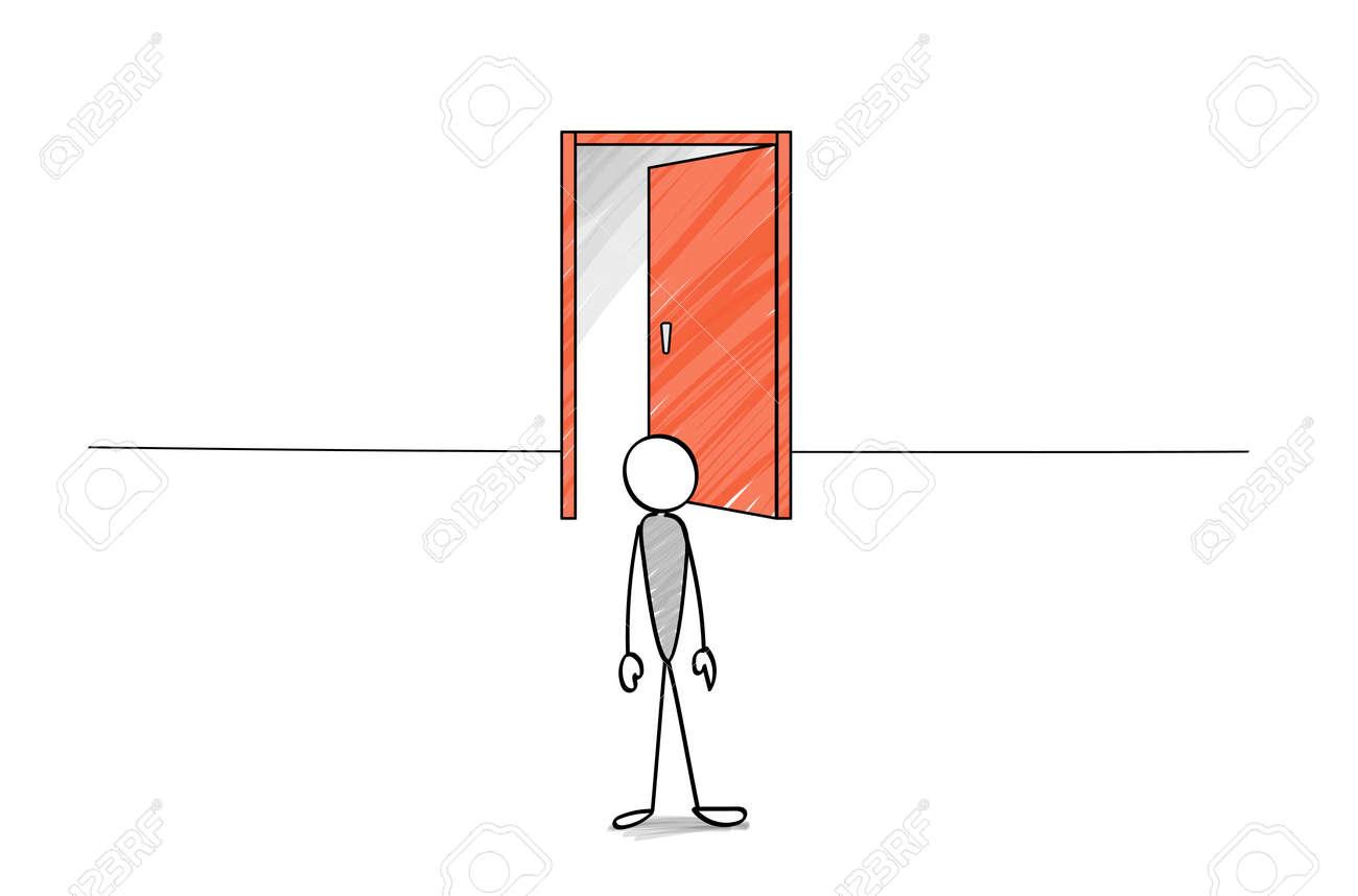 Open door and stick figure - 168653480