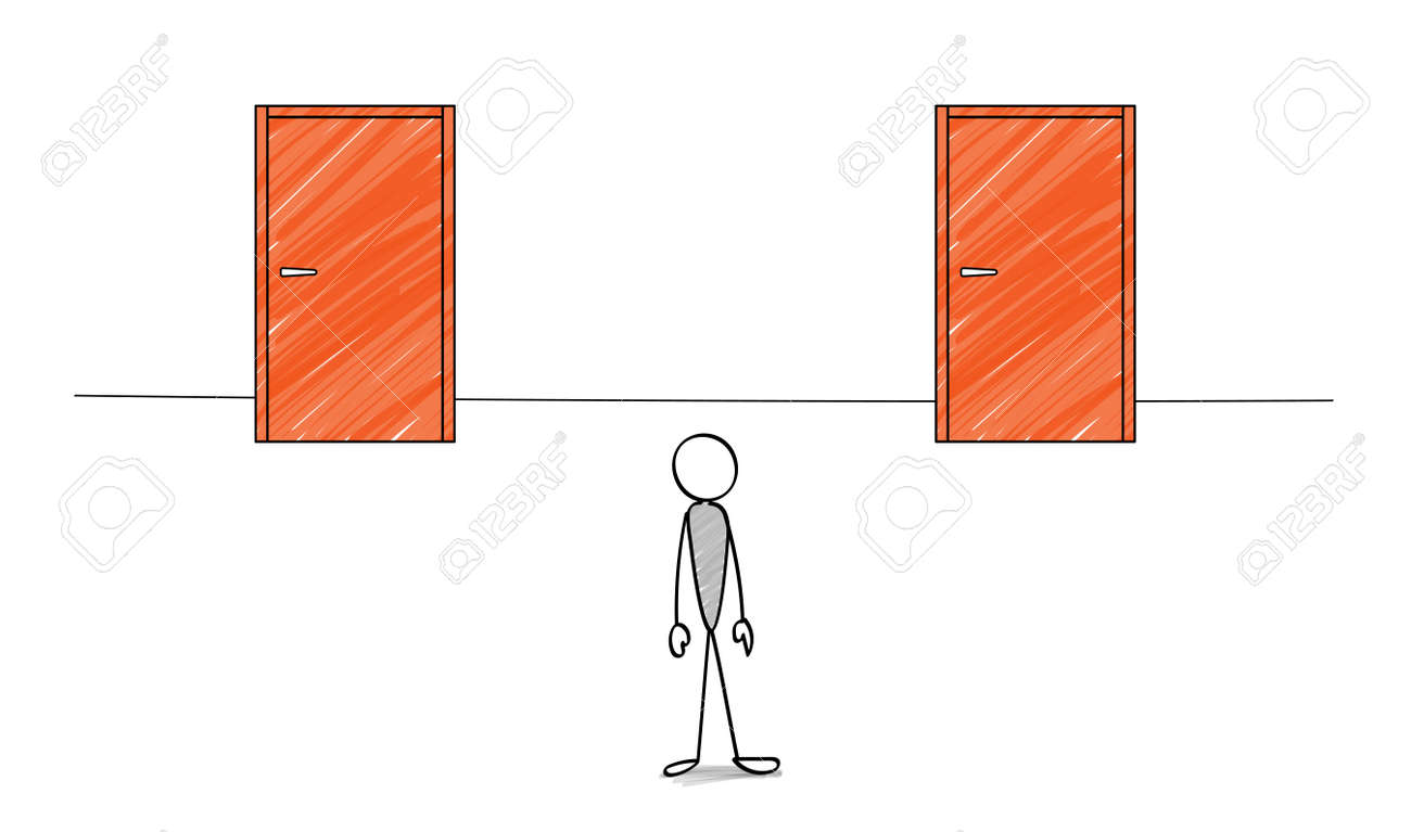 Two doors and stick figure - 168653481