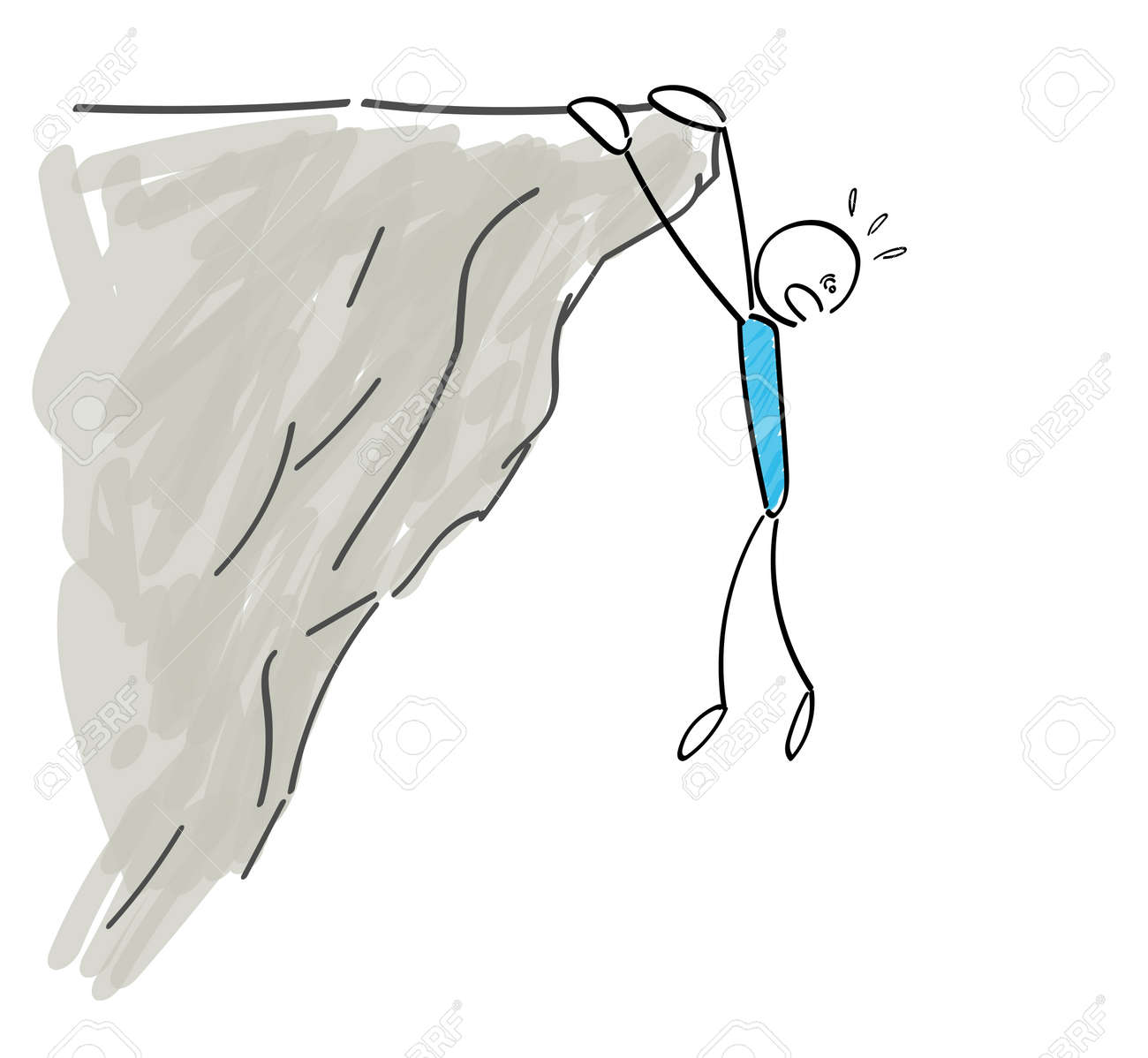Stickman hanging on a cliff - 168807248
