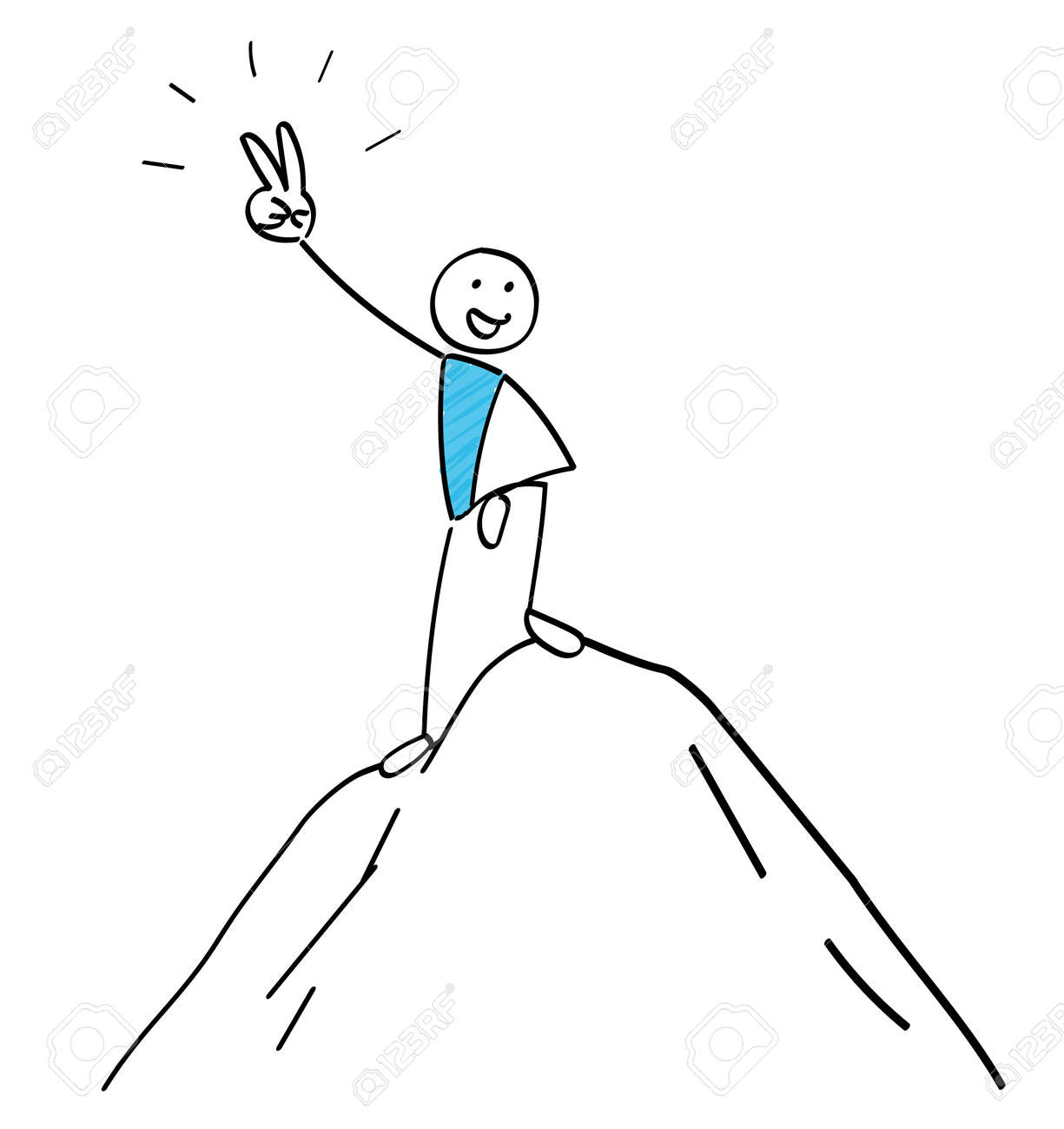 Stickman poses at the summit - 168807249
