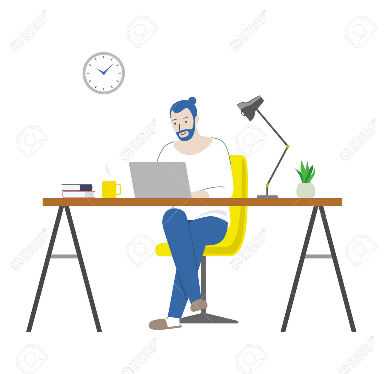 Man working from home (table, chair and laptop) - 168896486