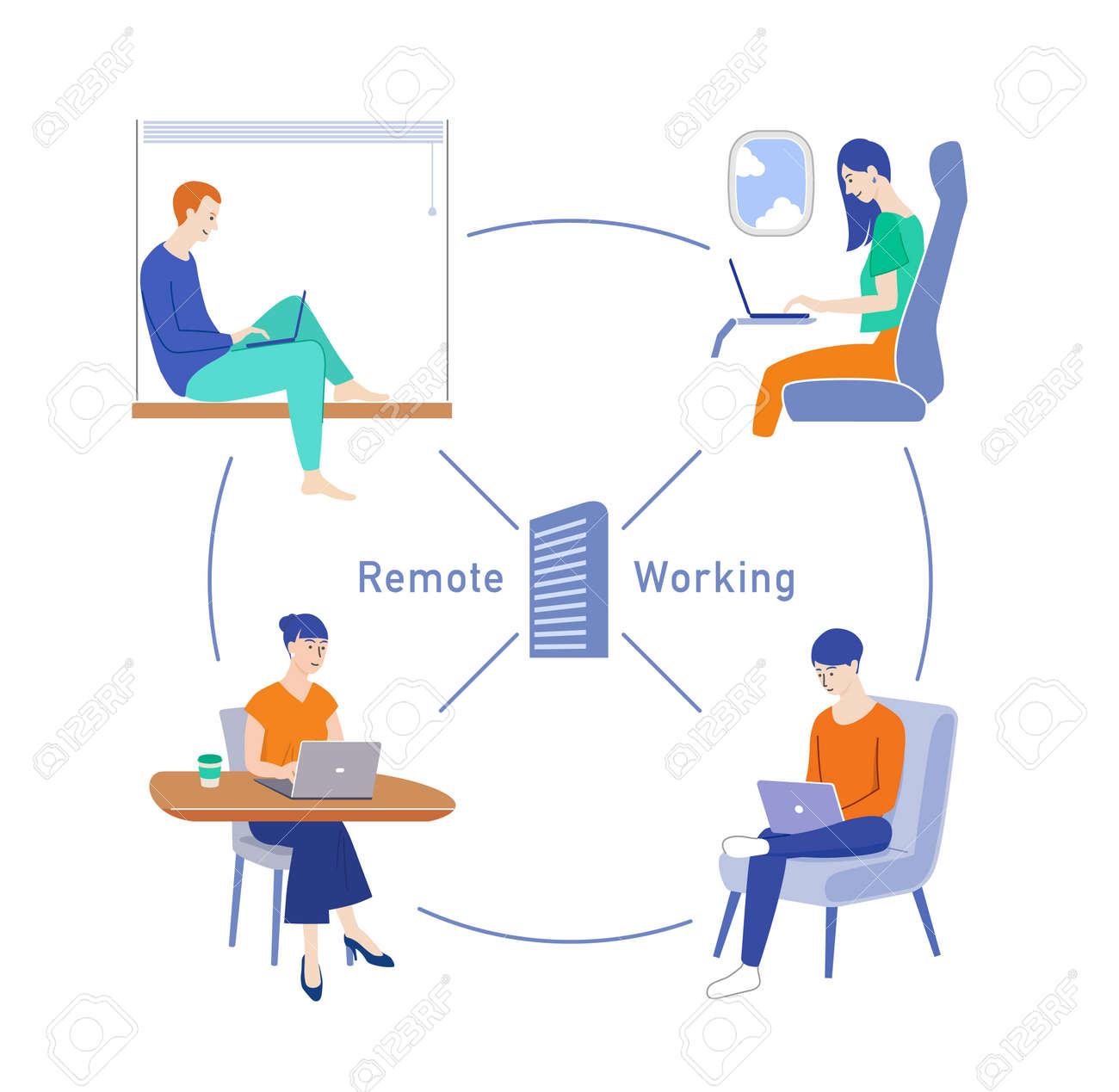 People doing remote work and telework - 169140554
