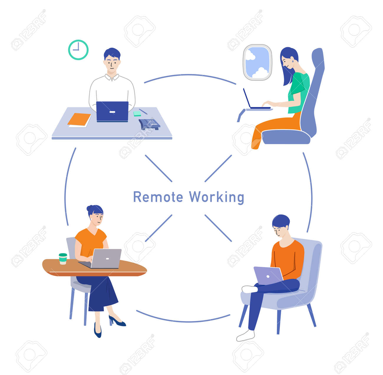People doing remote work and telework - 169140559
